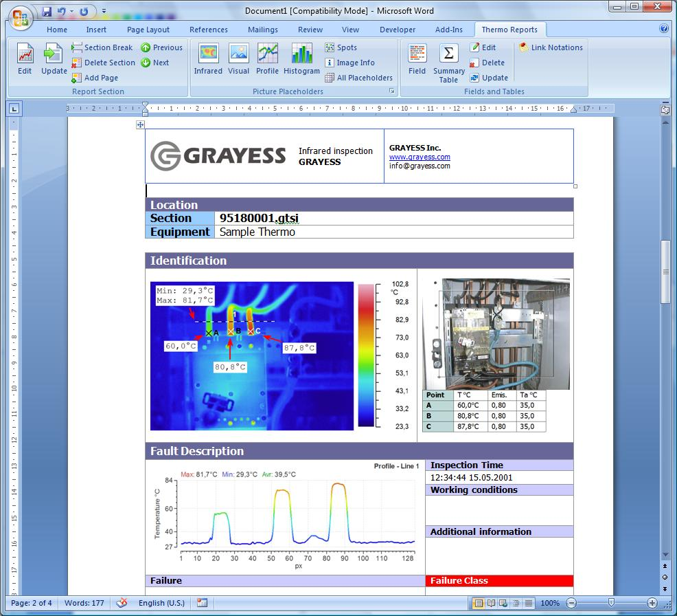 Irt analyzer grayess infrared software and solutions for Thermal imaging report template